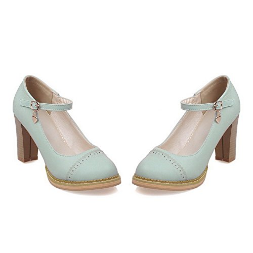 Amoonyfashion Mujeres Pu High Heels Ronda Cerrada Punta Sólida Hebilla Bombas-zapatos Azul