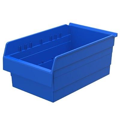 Akro-Mils 30808 ShelfMax 8 Plastic Nesting Shelf Bin Box, 18-Inch x 11-Inch x 8-Inch, Blue, 4-Pack