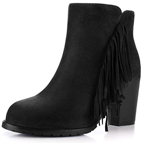 High Trim K Side Block 7 Zip Allegra Women's Heel Ankle US Boots Fringe Black pFHXqZ