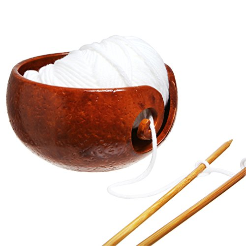 Caramel Brown Swirl - Rustic Handcrafted Ceramic Knitting and Crocheting Yarn Storage Bowl / Holder with Swirl Design, Caramel