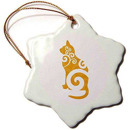 3dRose orn_41078_1 Swirly Cat Silhouette Orange Snowflake Porcelain Ornament, (Swirly Snow)