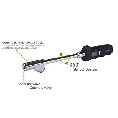 EXELAIR by Milton Digital Dual Head Tire Gauge with Extended Swivel Air Chuck: Automotive