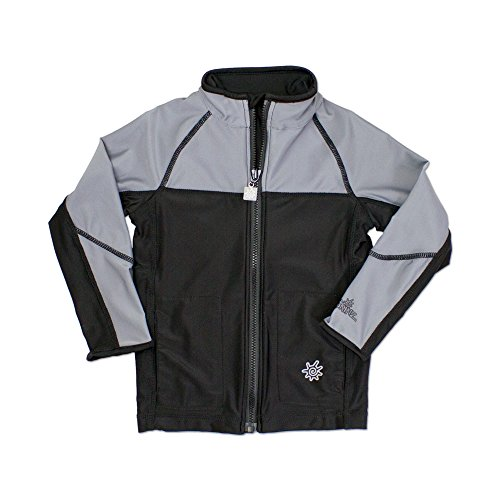 UV SKINZ UPF50+ Boys Full Zip Water Jacket-Black/Grey-6 by UV SKINZ
