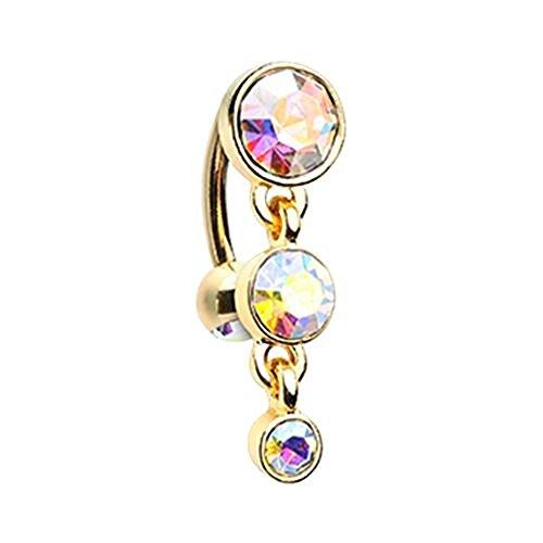 Golden Triple Crystalline Reverse WildKlass Belly Button Ring