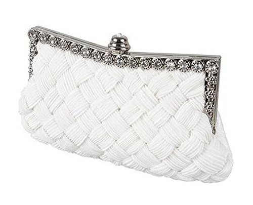 yeah67886diamantes pequeños en raso trenzado de moda fiesta bolsa las mujeres bolso de mano de cristal Evening (color blanco)