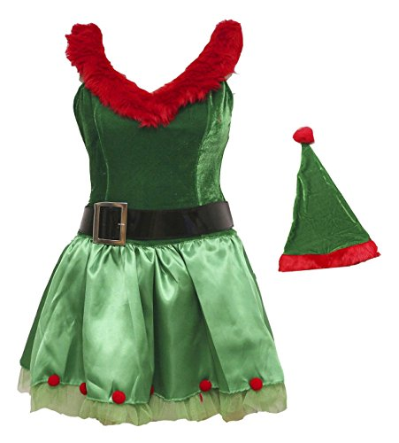 Bslingerie Green Christmas Santa Girl Elf Full Set Costume (M, Green)
