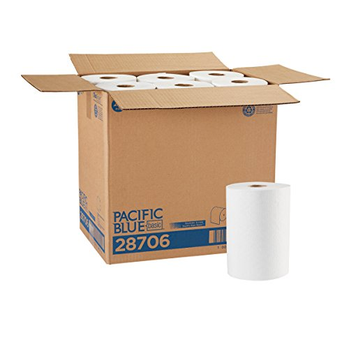 Pacific Blue Basic Paper Towel Rolls (Previously Branded Envision) by GP PRO (Georgia-Pacific), White, 28706, 350 Feet Per Roll, 12 Rolls Per Case