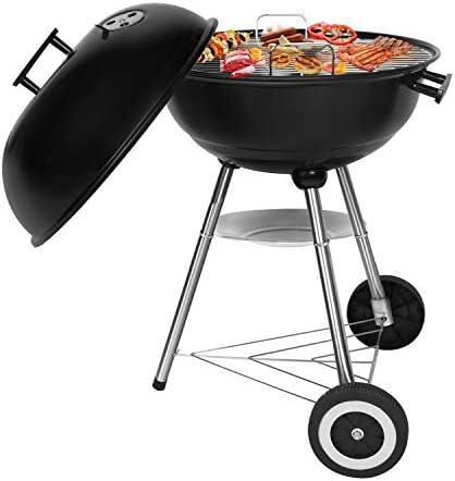 SunJas Barbecue à Charbon Rond, BBQ Mobile Barbecue Grill Portable de Jardin, avec Couvercle et 2 Roues - (46L ×44W ×70H)