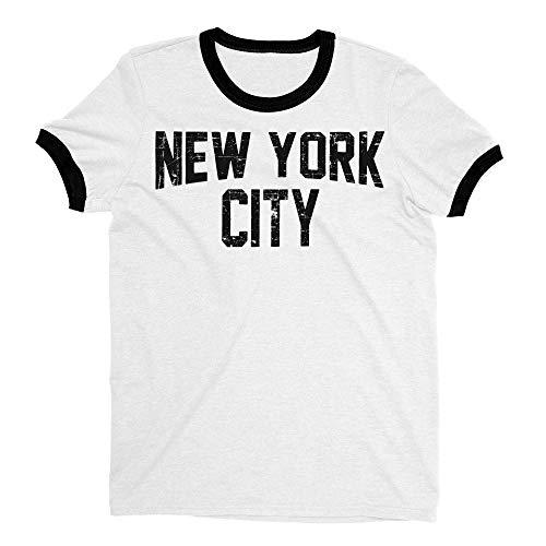 New York City John Lennon Ringer Tee T-Shirt Retro Style Men's Shirt (White-Distressed, X-Small)