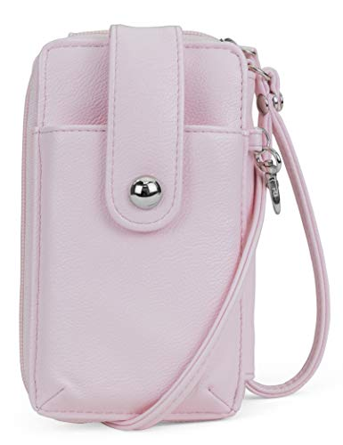 MUNDI Jacqui Vegan Leather RFID Womens Crossbody Cell Phone Purse Holder Wallet (Blush) ()