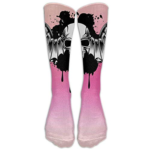 Halloween Party Fly Skull Bat Wing Blush Pink Stockings Long Tube Socks, Great Quality Classics Knee High Socks Sports Socks for Women Men One Size 1 Pair by SERY