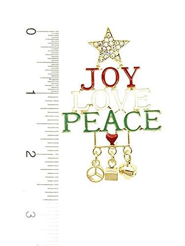 RI001 JOY LOVE PEACE CHRISTMAS PIN AND BROOCH