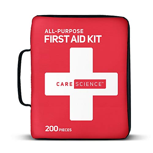 Care Science First Aid Kit All Purpose, 200 Pieces. Professional Use for Travel, Work, School, Home, Car, Survival, Camping, Hiking, and More