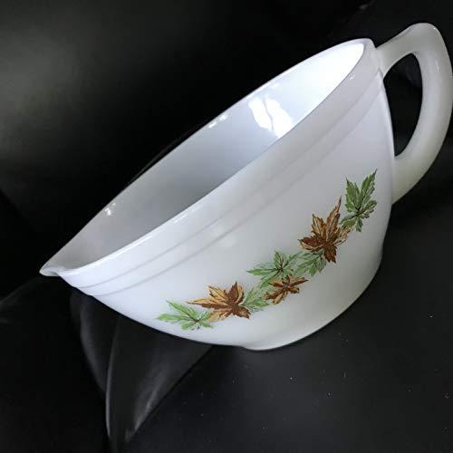 Vintage Federal Glass Mixing Batter Bowl w/Handle & Pour Spout ~ MAPLE LEAF