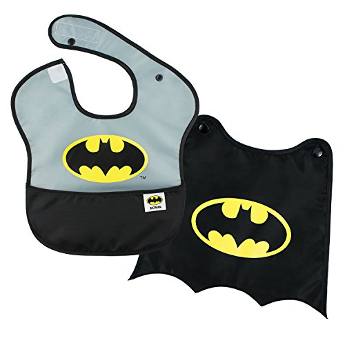 (Bumkins DC Comics Batman SuperBib, Baby Bib, With Cape, Waterproof, Washable, Stain and Odor Resistant, 6-24)