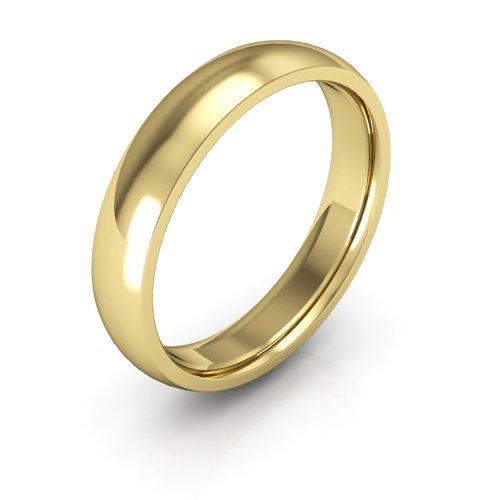 14K Yellow Gold men's and women's plain wedding bands 4mm comfort-fit light, (4mm Comfort Fit Ring Band)