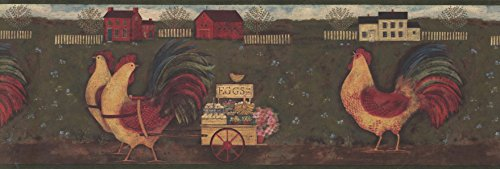 (Rust Country Roosters Wallpaper Border 54142 GG)