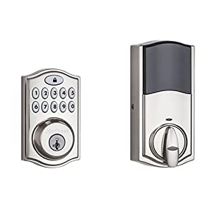 10. Kwikset 914 Z-Wave SmartCode Electronic UL Deadbolt, Works with Amazon Alexa via SmartThings, Wink, or Iris featuring SmartKey in Satin Nickel