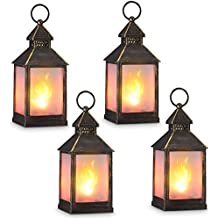 "zkee 11"" Vintage Style Decorative Lantern,Flame Effect LED Lantern,(Golden Brushed Black,4 Hours Timer) Indoor Lanterns Decorative,Outdoor Hanging Lantern,Decorative Candle Lanterns (Set of 4)"
