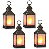 zkee 11' Vintage Style Decorative Lantern,Flame Effect LED Lantern,(Golden Brushed Black,4 Hours Timer) Indoor Lanterns Decorative,Outdoor Hanging Lantern,Decorative Candle Lanterns (Set of 4)
