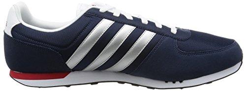 adidas Neo City Racer, Zapatillas de Deporte para Hombre Negro / Plateado / Rojo (Maruni / Plamat / Rojpot)