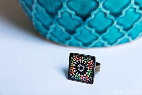 Anillo Alhambra - Mosaico Flor Negra - Cerámica Colores Fotografía Resina ecológica 18mm - Regalos originales para mujer - Aniversario - Regalo Día de la Madre