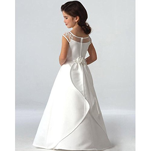 e96db50053 Suiun Dress Birthday Parties Dress Holy First Communion Dress Flower Girls  Tulle Lace Dress(White