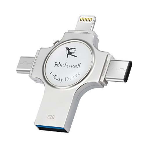 Richwell iPhone USB Flash Drive 3.0 Memory Stick 32GB U Disk External Storage 4in1 for Apple iPhone iPad iOS Macbook Air Android Type-C and Computers(Silver32G-SZ)