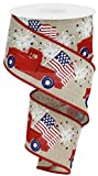 2.5'' Red Vintage Patriotic Truck - Red Farm Truck July 4th America Patriotic Wired Edge Ribbon (Buff)