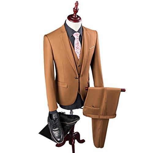 3 pieces tuo se YHNSXZ Costume Homme,Costume,Hommes de Loisirs à Manches Courtes Costumes 3 pièces Ensembles Homme de Couleur Pure Costume d'affaires Veste Blazers Manteau + Veste + Pantalon XL