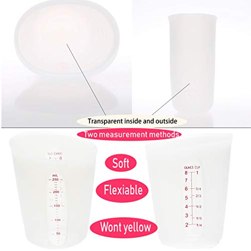 2-Cup silicone Measuring Cup, Flexible Stir and Pour Baking Cup Dishwasher Safe BPA Free White for Coffee Maker,Mixing Plaster cake cookies resin art Clear with Red Measurements (2X 250ML)