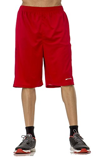 (BU3011) AeroSkin Dry Unisex Mesh Basketball Short with Graphic in Red / Black Size: 2XL