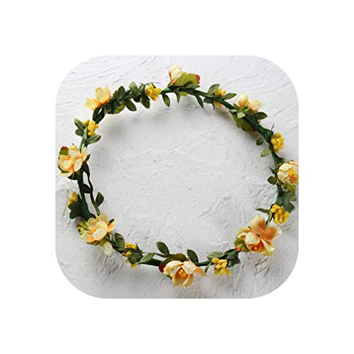 Women Children girls Wedding Flower Bride Wreath Floral Garlands Bride Headband Hair band Hair Accessories,Yellow ()