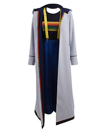 TISEA Womens 13th Doctor Long Trench Who is Doctor Cosplay Costume (S, Grey Fullset)