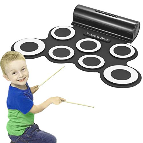 Alaca Electronic Drum Set Roll Up Drum Practice Pad Midi Drum Kit with Headphone Jack Built-in Speaker Drum Pedals Drum Sticks For Kids or Beginner