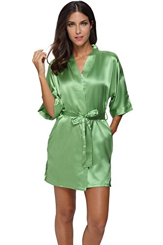 The Bund womens Pure Colour Short Kimono Robes with Oblique V-Neck Green X-Large