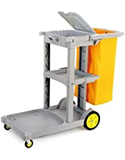 Commercial Housekeeping Cart with Lid, Plastics 3-Shelf Janitorial Cleaning Trolley for Hospitality, Hotel & Restaurant,