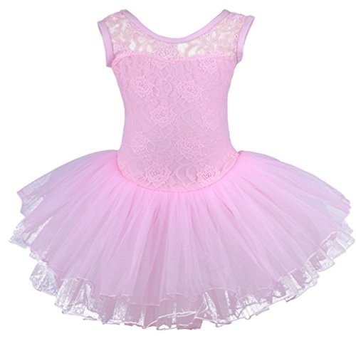 Meeyou Little Girls' Carved Lace Overlay Ballet Tutu Dress(M,Pink)