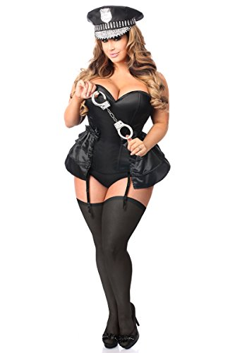 Daisy Corsets Women's Lavish Plus Size 4 Pc Rhinestone Cop Corset Costume, Black, 5X]()