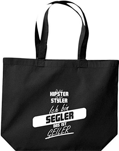 Shirtstown große Einkaufstasche, Shopper du bist hipster du bist styler ich bin Segler das ist geiler schwarz