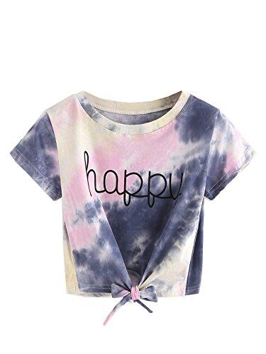 SweatyRocks Women's Tie Dye Print Tie Front Short Sleeve Crop Top T-Shirt Purple M