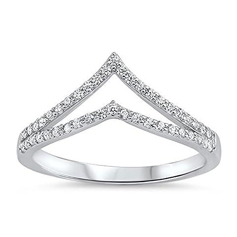 White CZ Open Chevron Micro Pave Thumb Ring .925 Sterling Silver Band Size 10 (RNG15891-10) (Chevron Cz Ring)