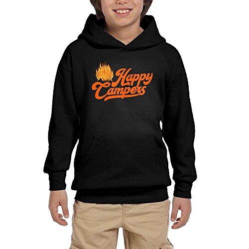 Hapli Youth Black Hoodie Happy Camper1 Hoody Pullover Sweatshirt Pocket Pullover For Girls Boys L by Hapli