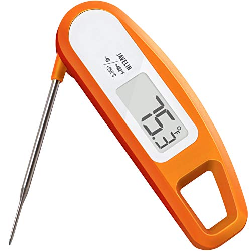 Lavatools Pt12 Javelin Digital Ultra Fast Instant Read Meat Thermometer For Kitchen Outdoor Grilling Bbq Brewing And Frying Orange
