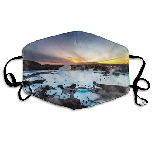 Liayai7. Iceland Blue Lagoon Dust,Face Mask Washed,Reusable Outdoor Activities Windproof 7 X 4.3 Inch Mouth Masks