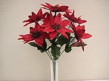 Amazon 4 bushes red christmas poinsettia artificial silk 4 bushes red christmas poinsettia artificial silk flowers 12quot mightylinksfo