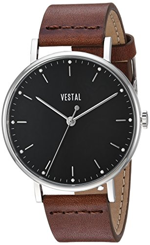 Vestal 'Sophisticate' Swiss Quartz Stainless Steel and Leather Dress Watch, Color:Brown (Model: SP42L04.BR)