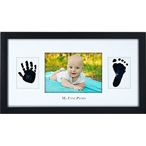 Personalized baby gifts amazon baby handprint and footprint frame best baby shower or keepsake personalized gift lifetime warranty safe ink pad new baby decorations for room wall or negle Choice Image