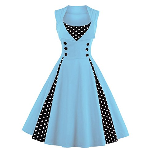 Rockabilly 50er hellblau Blau DISSA Cocktail Retro Kleid 1357 Vintage Damen xR55HqwvnX