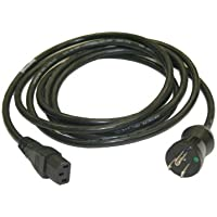 Interpower 86611010 North American Hospital Grade Cord Set, NEMA 5-15 Plug Type, IEC 60320 C13 Connector Type, Black, 13A Amperage, 125VAC Voltage, 3.66m Length
